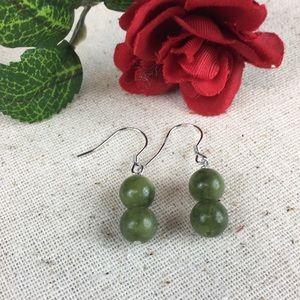 Green Serpentine Sterling Silver Earrings